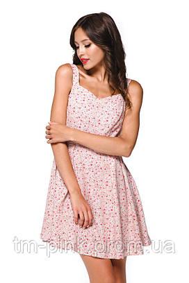 """Сукня приталена А-силует принт квіти льон """"Еко"""" рожевий"""