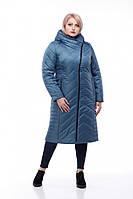 Оригинальное зимнее пальто  Мира серо-синий, фото 1