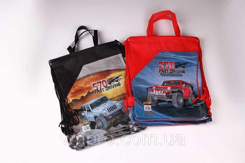 """Сумка для сменной обуви с карманом """"Fast driving"""" 34×26 см. №7387, мешок для обуви текстиль"""