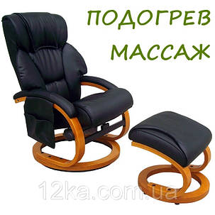 Массажное кресло + пуф REGOline 3 с подогревом черное, фото 2