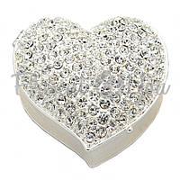 Шкатулка для украшений «Серебряное сердце» 6х6х2,5 см.