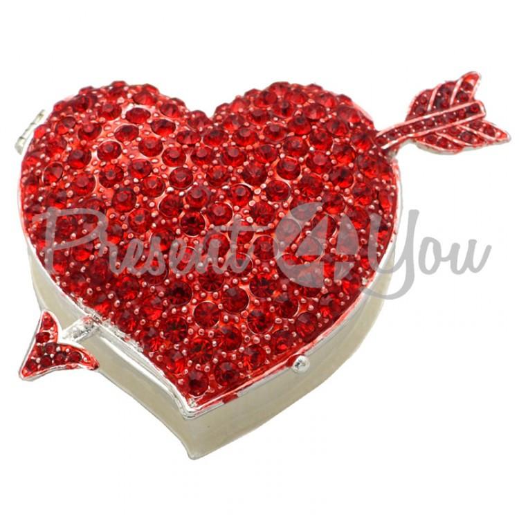 Шкатулка для украшений «Красное сердце» 8х6х2,5 см.