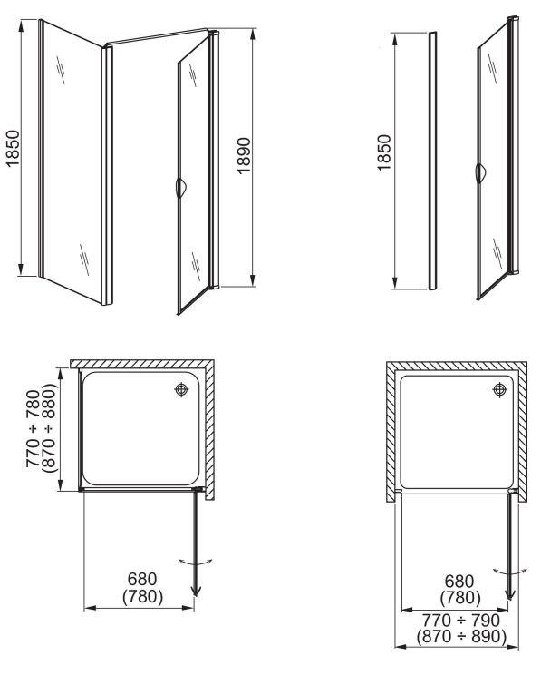 aquaform Неподвижная стенка Aquaform Glass 5 80 см 103-06379