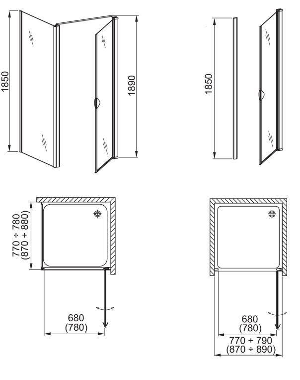 aquaform Душевые двери Aquaform Glass 5 80 см 103-06369 R
