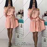 Платье модное короткое с пышной юбкой и открытыми плечами супер софт 4 цвета SMf1537