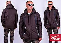 Мужская куртка демисезонная, плащевка коттон-браш с пропиткой, размер M, L, XL, XXL