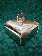 Золотистая коробка для торта 170х170х110 с ручкой, фото 1