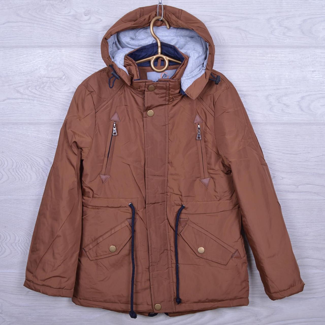 """Куртка подростковая демисезонная """"M&Z"""" #16В-1 для мальчиков. Размеры 34-42. Коричневая. Оптом."""