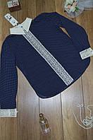 Блуза горохи с гипюровым воротником, фото 1