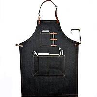 Фартук официанта, фартук бармена джинсовый с дополнительными карманами и креплениями