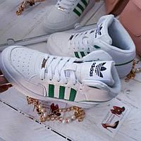 Женские кроссовки Адидас с зелеными полосками