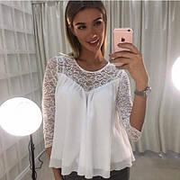 Шифоновая белая блуза с кружевной вставкой
