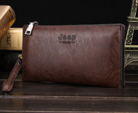 Мужской удобный стильный коричневый кожаный кошелек клатч Jeep Buluo  на молнии