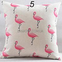 Декоративная наволочка на подушку с фламинго