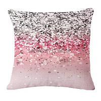Декоративная наволочка на подушку с принтом под блестки