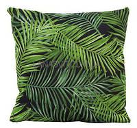 Декоративная наволочка на подушку тропическая на черном фоне