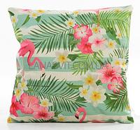 Декоративная наволочка на подушку с фламинго в  полоску