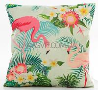 Декоративная наволочка на подушку красивые фламинго в тропиках