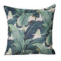 Декоративная наволочка на подушку с принтом банановые листья