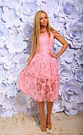 Нарядное комбинированное платье верх гипюр низ органза цветочный принт короткий рукав  размеры 42 44