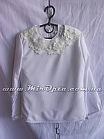 Блузка школьная для девочки белая (122 - 140 см) купить оптом в Украине