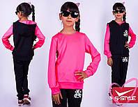 Стильный спортивный костюм тройка для девочки, двухнить,размеры: 116-122, 128-134, 140-146