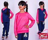 Модный костюм тройка для девочки, двухнить+ластик