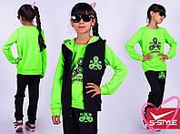 Яркий спортивный костюм тройка для девочки, двухнить,размеры: 116-122, 128-134, 140-146