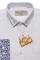 """Біла шкільна сорочка для хлопчика з модними вставками """"Княжич"""""""