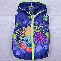 """Детская демисезонная жилетка """"Цветочки""""#8/2 для девочек. 3-5 лет. Синяя. Оптом."""