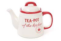 """Керамический заварочный чайник """"Red & Blue"""" молочно-красный, 1 л."""