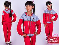 Спортивный костюм для девочки с капюшоно, двухнить,140, 146, 152, 158