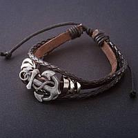 Кожаный мужской браслет якорь