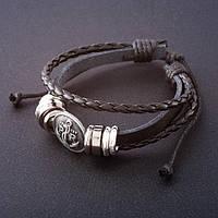 Кожаный мужской браслет эмблема якорь