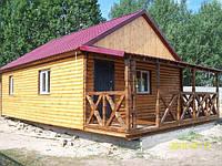 Домики деревянные дачные 8м х 6м из блокхауса с террассой, фото 1