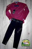Бардовая рубашка Armani и темно-синие брюки для мальчика