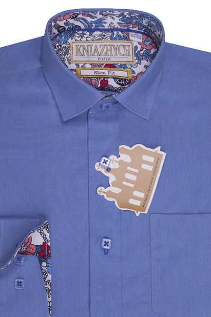 1aa66f746e4 Яркая синяя рубашка мальчику в школу