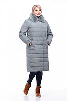 Теплое зимнее пальто Ким песец фисташки