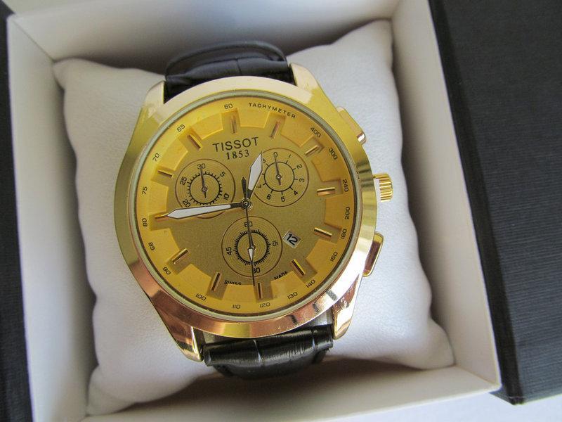 Мужские наручные часы Tissot (Тиссот) золото с жёлтым циферблатом