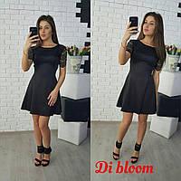 Короткое платье с гипюровыми рукавами