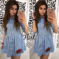 Легкое хлопковое платье - рубашка