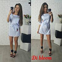 Платье-рубашка с пояском и вышивкой