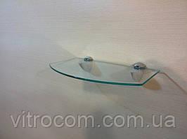 Полка стеклянная фигурная прозрачная 4 мм 25 х 15 см в комплекте