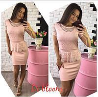 Розовое гипюровое платье с баской
