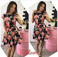 Шёлковое платье в крупные тюльпаны
