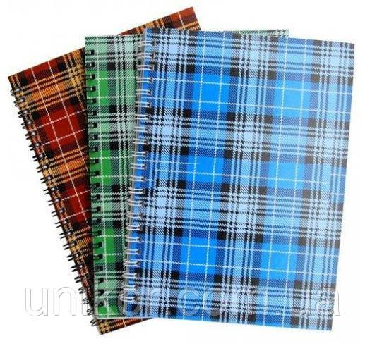 """Тетрадь А5 на спирали 96 листов, """"шотландка"""", клетка. Реверс"""