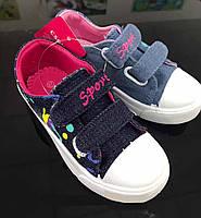 Детские джинсовые кеды на липучках для девочек оптом Размеры 27-32