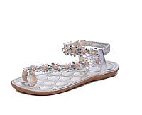 Босоножки женские серебристые с цветами Б870 р 37,38,39