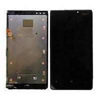 Дисплей для Nokia 920 Lumia + touchscreen, черный, с передней панелью
