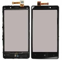 Тачскрин для Nokia 520 Lumia/525 Lumia, черный, с передней панелью, оригинал (Китай)
